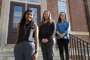 On the steps of Gardner Hall: from left – Srihita Bongu, Professor Kalina Staub, Mijal Bucay